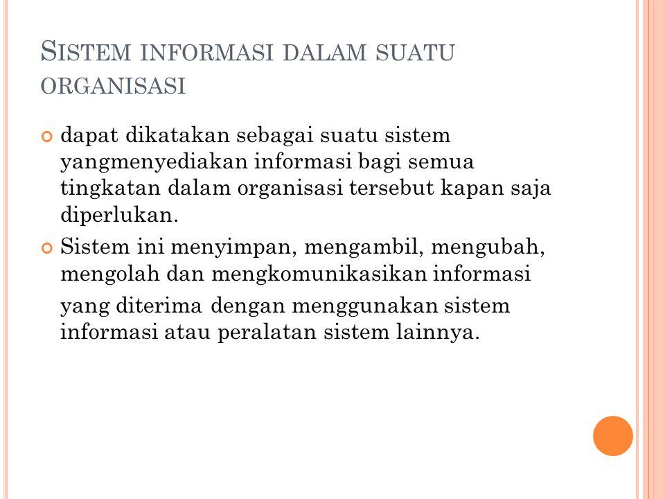 Sistem informasi dalam suatu organisasi