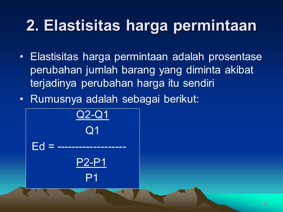 2. Elastisitas harga permintaan