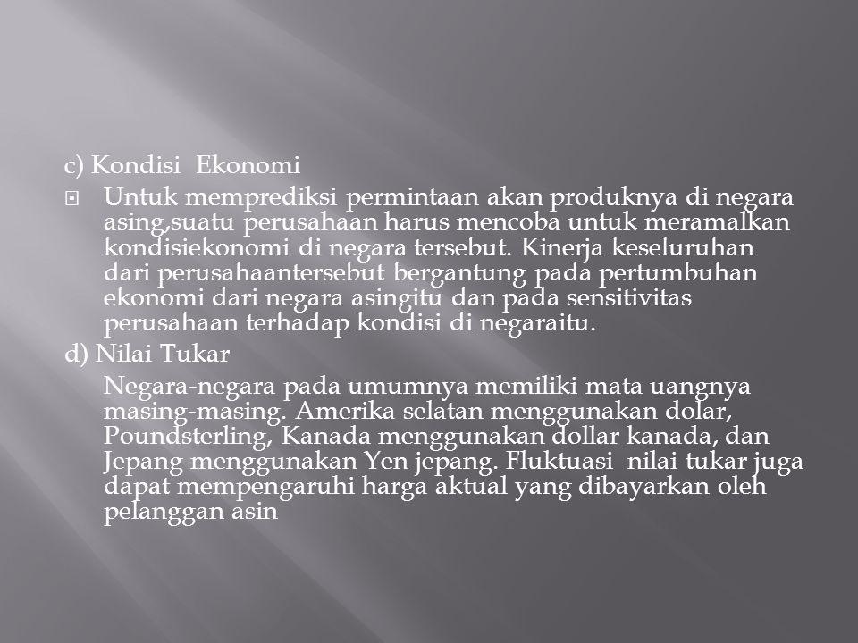 c) Kondisi Ekonomi