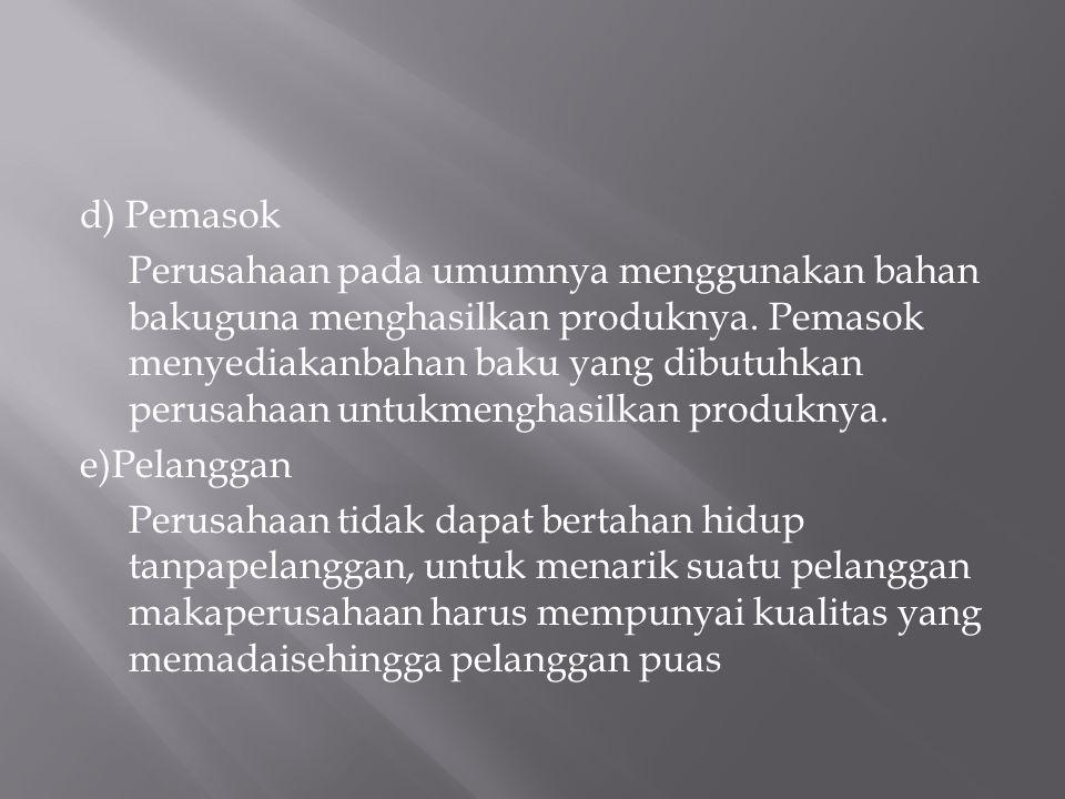 d) Pemasok