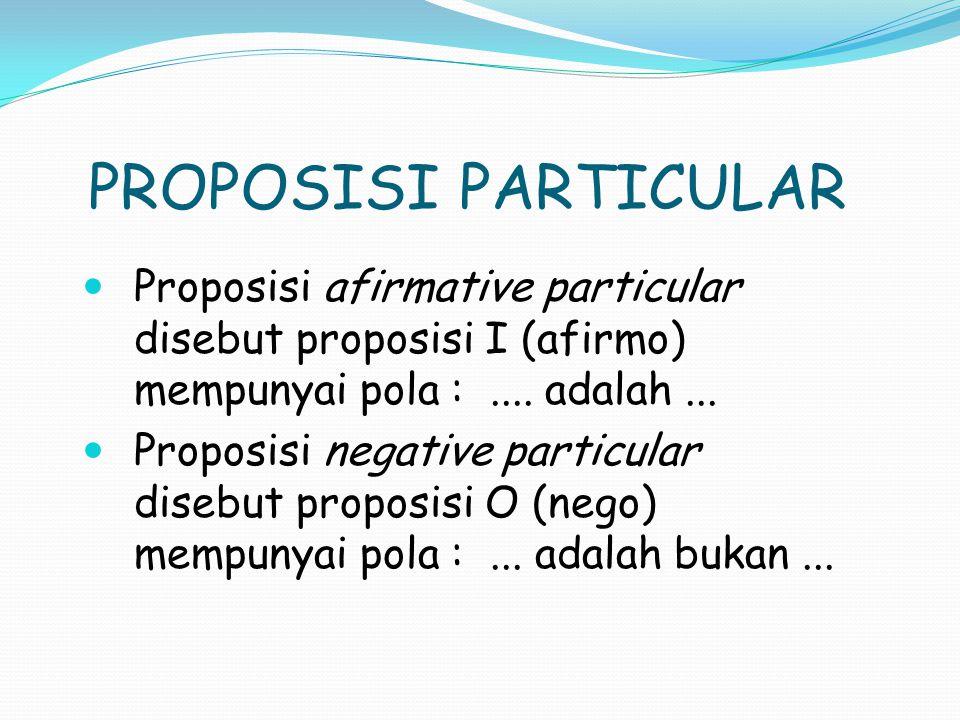 PROPOSISI PARTICULAR Proposisi afirmative particular disebut proposisi I (afirmo) mempunyai pola : .... adalah ...