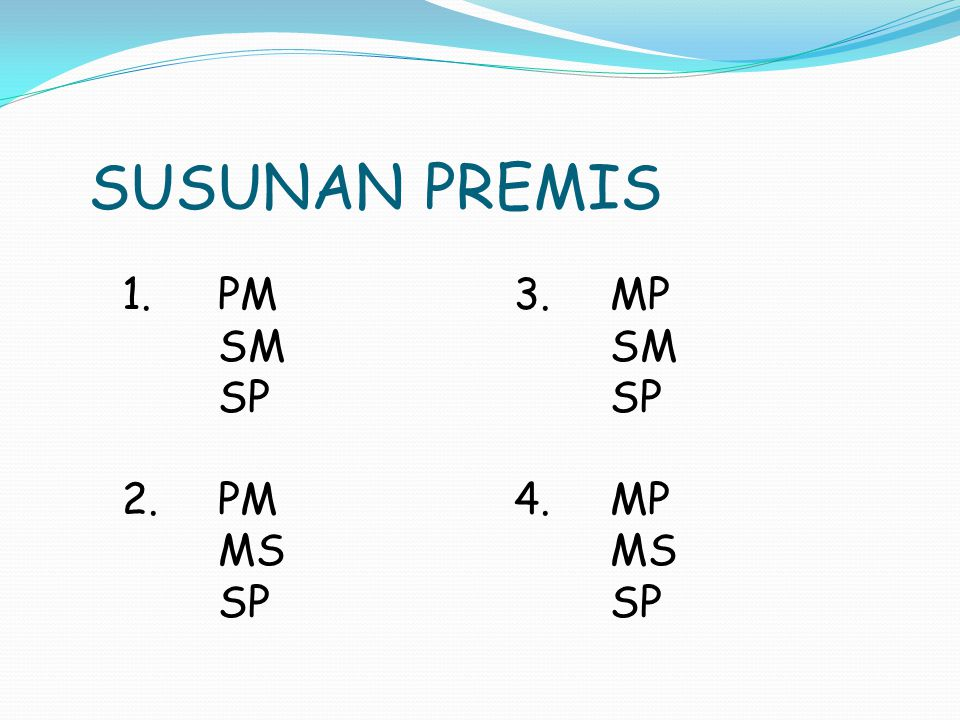 SUSUNAN PREMIS 1. PM SM SP 2. PM MS 3. MP SM SP 4. MP MS