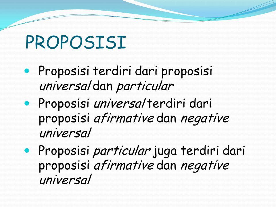 PROPOSISI Proposisi terdiri dari proposisi universal dan particular