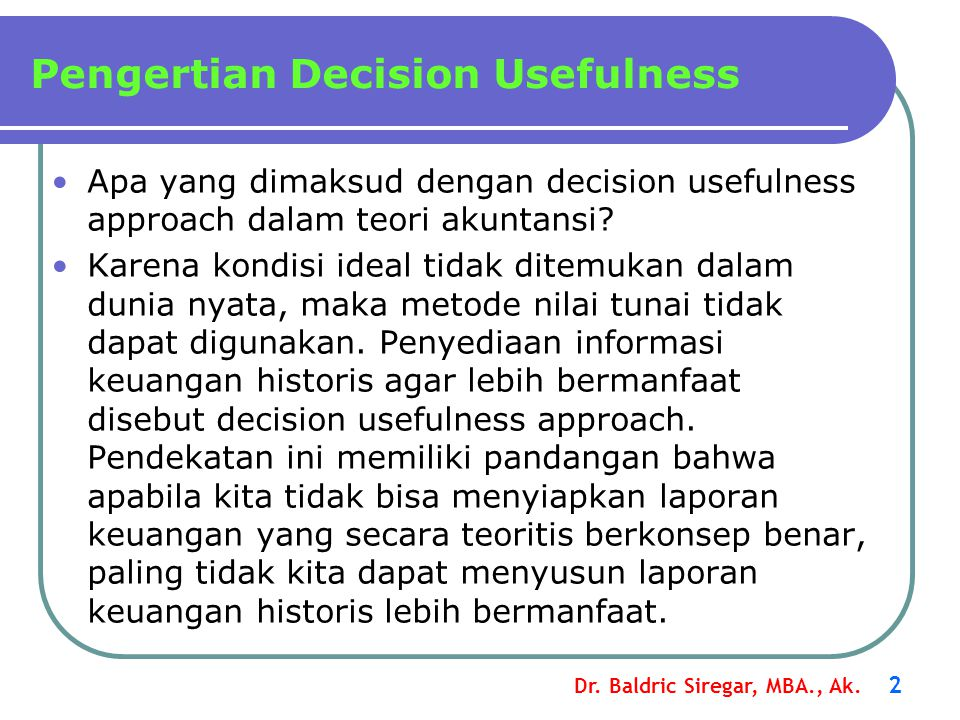 Pengertian Decision Usefulness