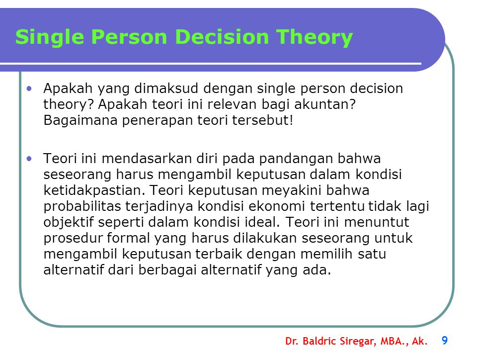 Single Person Decision Theory