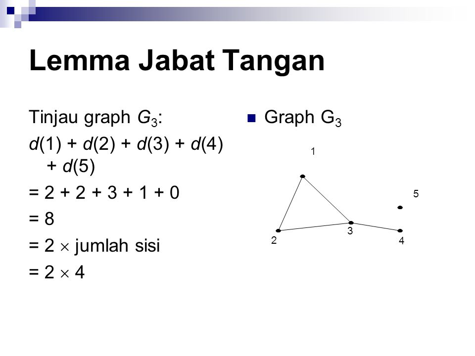 Lemma Jabat Tangan Tinjau graph G3: d(1) + d(2) + d(3) + d(4) + d(5)