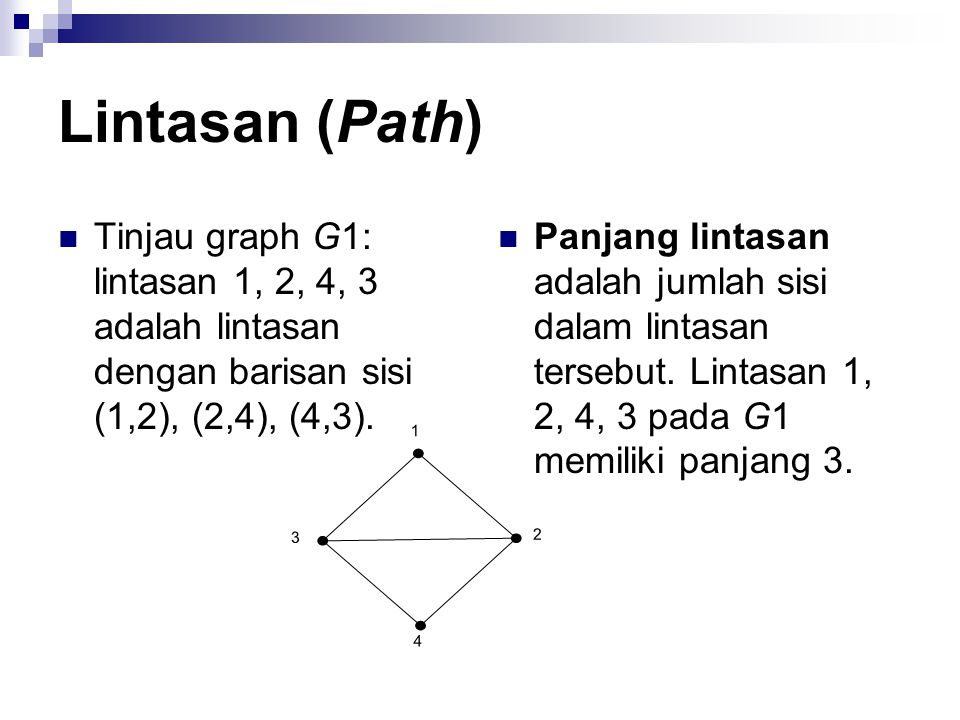 Lintasan (Path) Tinjau graph G1: lintasan 1, 2, 4, 3 adalah lintasan dengan barisan sisi (1,2), (2,4), (4,3).
