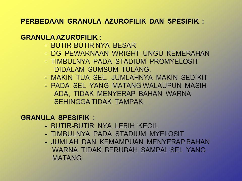 PERBEDAAN GRANULA AZUROFILIK DAN SPESIFIK : GRANULA AZUROFILIK :