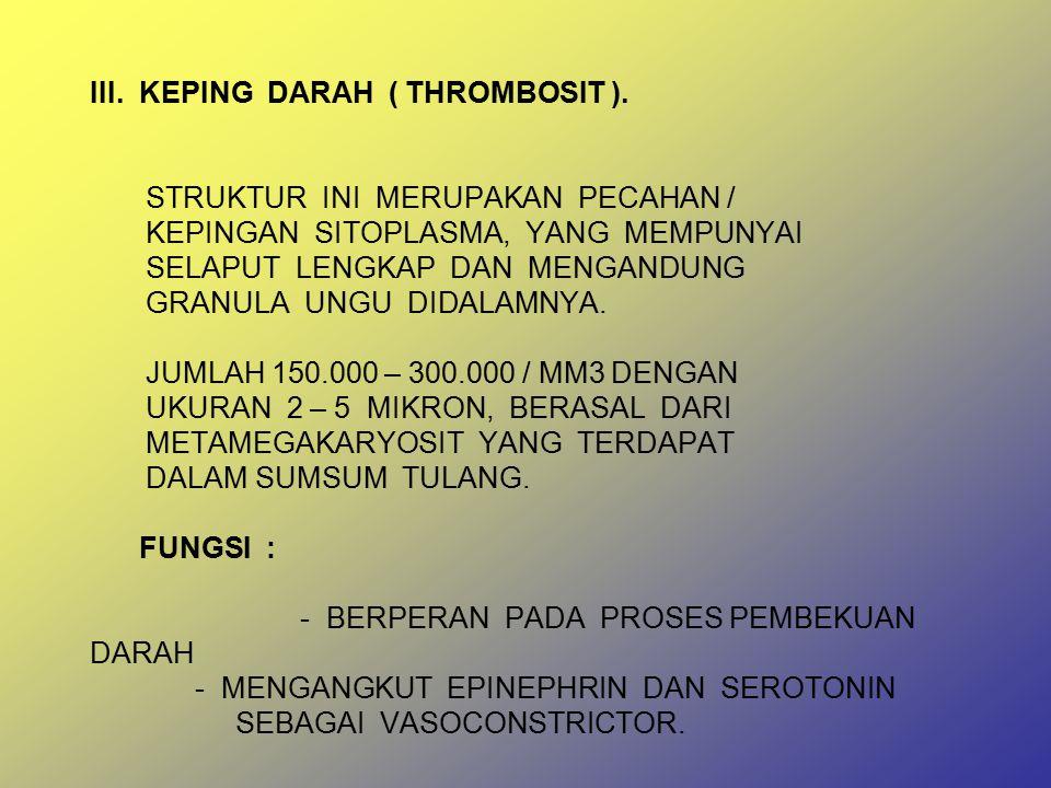 III. KEPING DARAH ( THROMBOSIT )