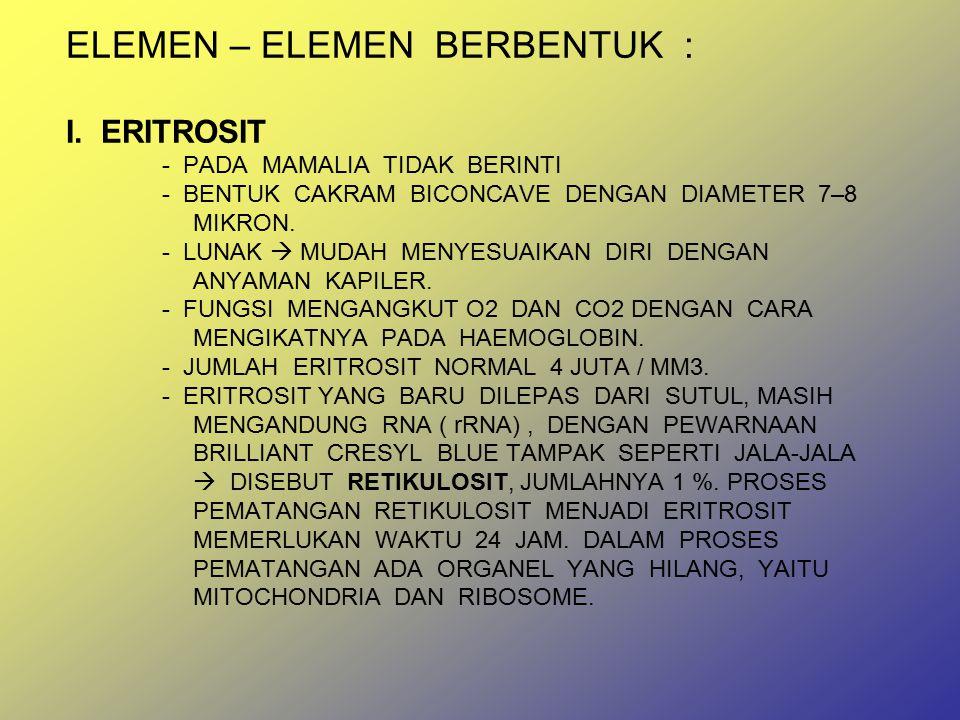 ELEMEN – ELEMEN BERBENTUK : I. ERITROSIT. - PADA MAMALIA TIDAK BERINTI