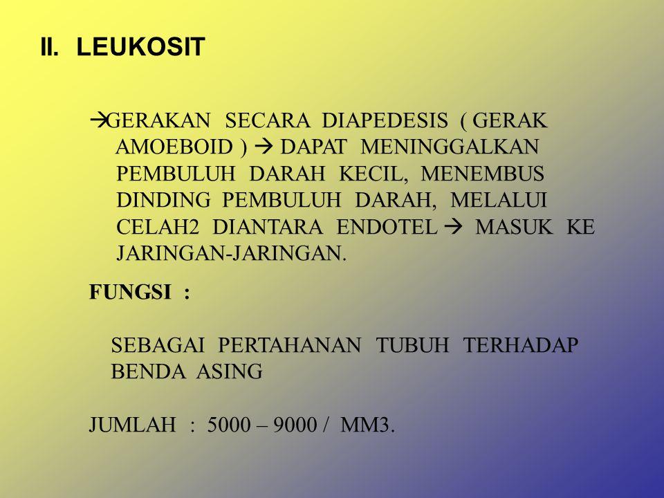 II. LEUKOSIT GERAKAN SECARA DIAPEDESIS ( GERAK