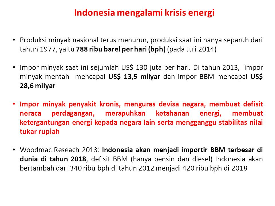 Indonesia mengalami krisis energi