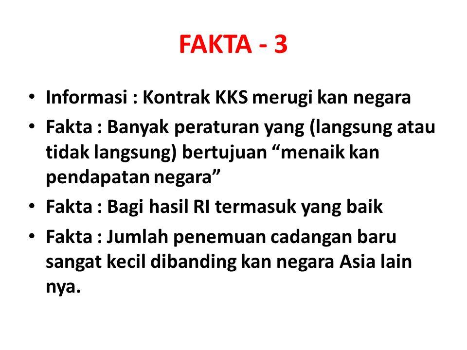 FAKTA - 3 Informasi : Kontrak KKS merugi kan negara