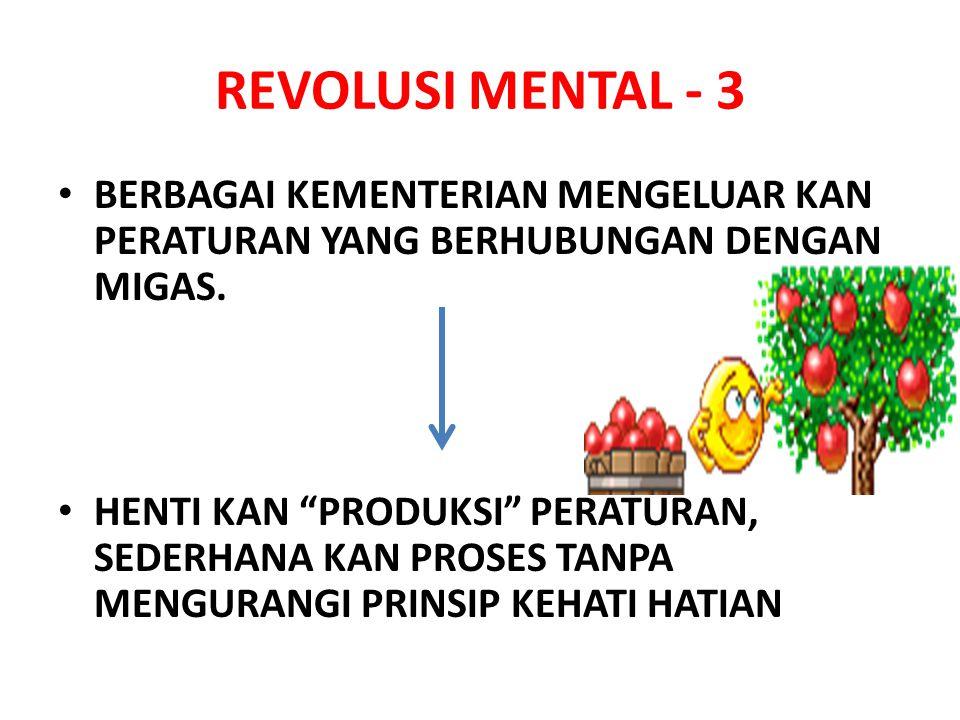 REVOLUSI MENTAL - 3 BERBAGAI KEMENTERIAN MENGELUAR KAN PERATURAN YANG BERHUBUNGAN DENGAN MIGAS.