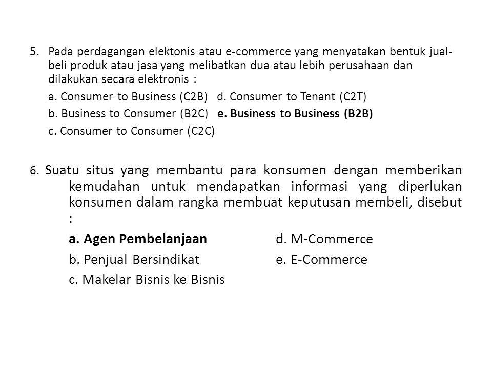 a. Agen Pembelanjaan d. M-Commerce