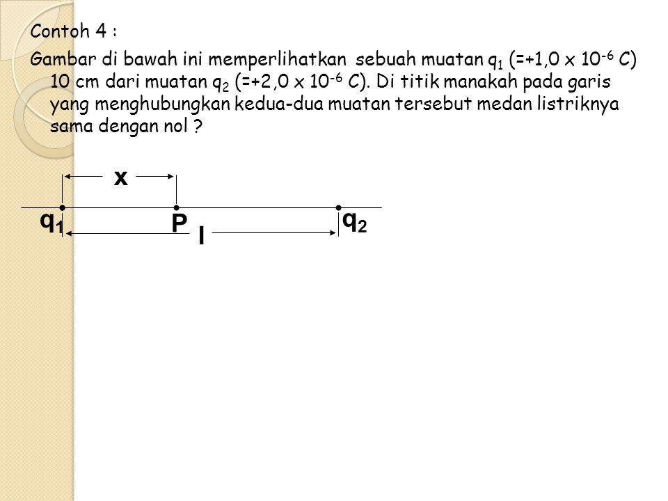 Contoh 4 : Gambar di bawah ini memperlihatkan sebuah muatan q1 (=+1,0 x 10-6 C) 10 cm dari muatan q2 (=+2,0 x 10-6 C). Di titik manakah pada garis yang menghubungkan kedua-dua muatan tersebut medan listriknya sama dengan nol
