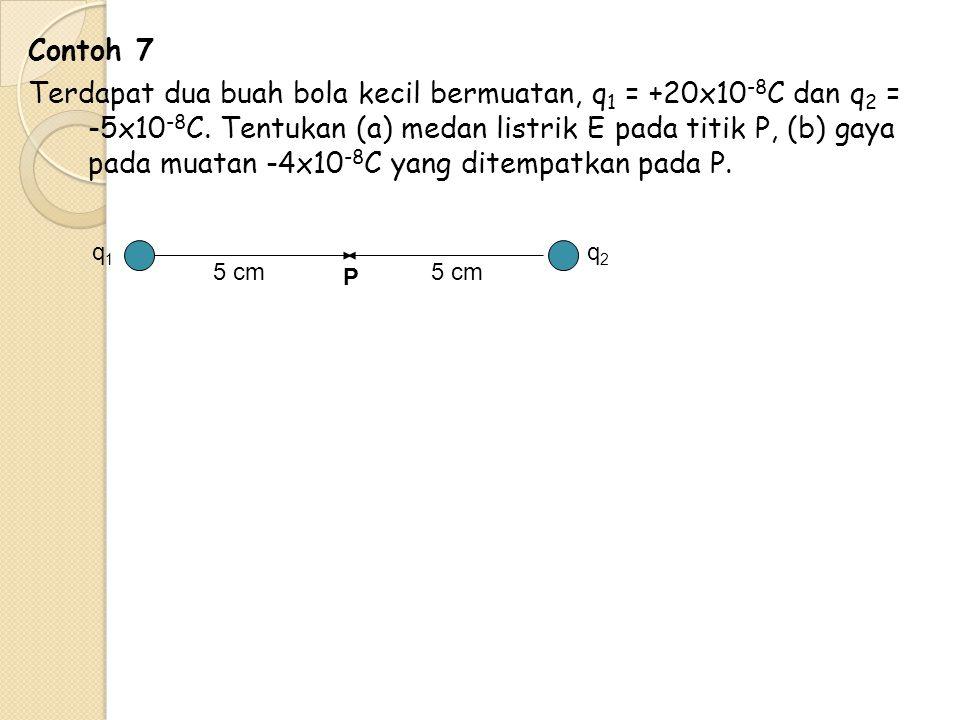Contoh 7 Terdapat dua buah bola kecil bermuatan, q1 = +20x10-8C dan q2 = -5x10-8C. Tentukan (a) medan listrik E pada titik P, (b) gaya pada muatan -4x10-8C yang ditempatkan pada P.