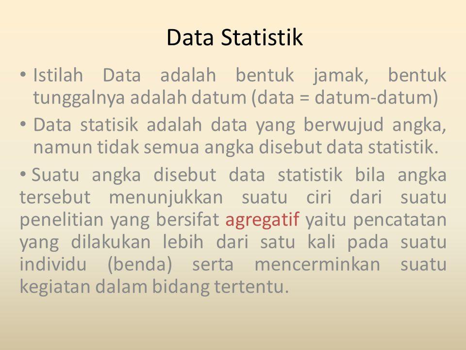 Data Statistik Istilah Data adalah bentuk jamak, bentuk tunggalnya adalah datum (data = datum-datum)