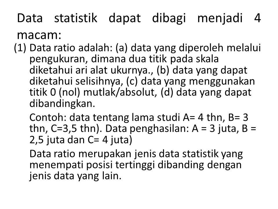 Data statistik dapat dibagi menjadi 4 macam: