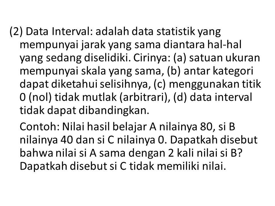 (2) Data Interval: adalah data statistik yang mempunyai jarak yang sama diantara hal-hal yang sedang diselidiki.