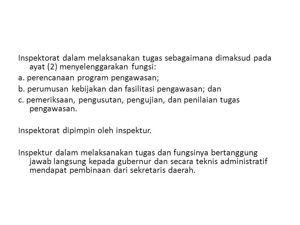 Inspektorat dalam melaksanakan tugas sebagaimana dimaksud pada ayat (2) menyelenggarakan fungsi: a.