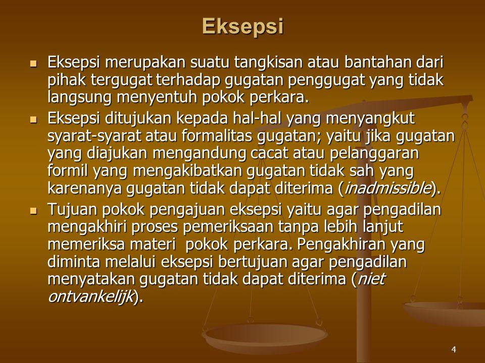 Eksepsi Eksepsi merupakan suatu tangkisan atau bantahan dari pihak tergugat terhadap gugatan penggugat yang tidak langsung menyentuh pokok perkara.