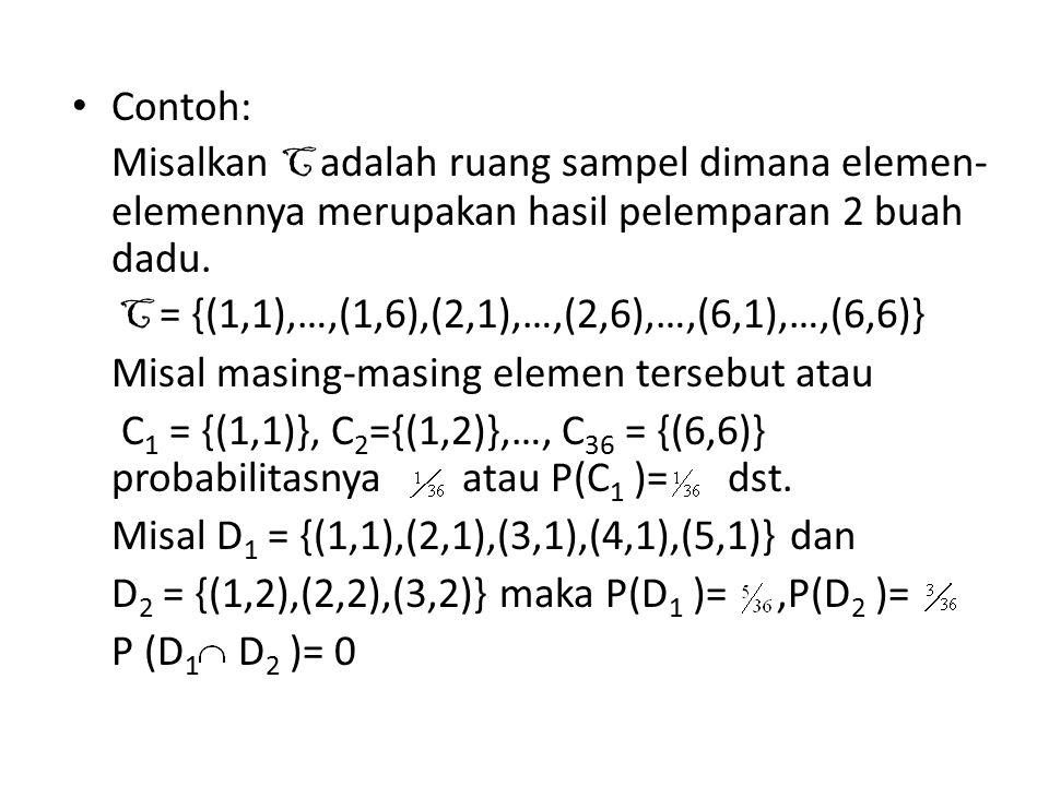 Contoh: Misalkan C adalah ruang sampel dimana elemen-elemennya merupakan hasil pelemparan 2 buah dadu.