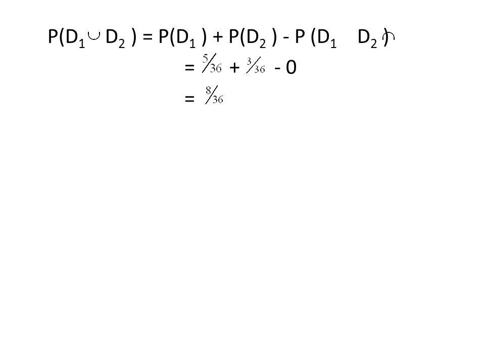 P(D1 D2 ) = P(D1 ) + P(D2 ) - P (D1 D2 ) = + - 0 =