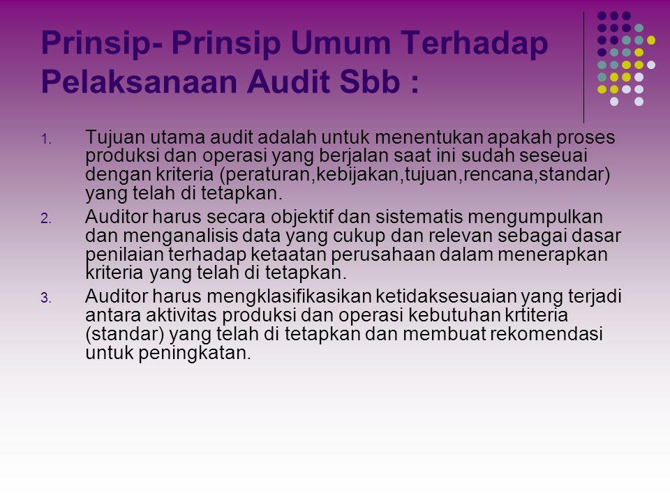 Prinsip- Prinsip Umum Terhadap Pelaksanaan Audit Sbb :