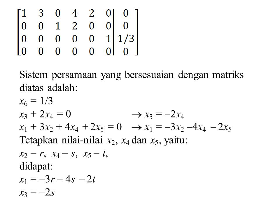 Sistem persamaan yang bersesuaian dengan matriks