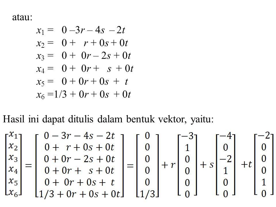 atau: x1 = 0 –3r – 4s – 2t. x2 = 0 + r + 0s + 0t. x3 = 0 + 0r – 2s + 0t. x4 = 0 + 0r + s + 0t.