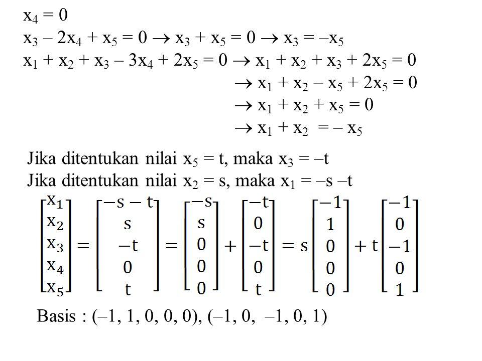 x4 = 0 x3 – 2x4 + x5 = 0  x3 + x5 = 0  x3 = –x5. x1 + x2 + x3 – 3x4 + 2x5 = 0  x1 + x2 + x3 + 2x5 = 0.