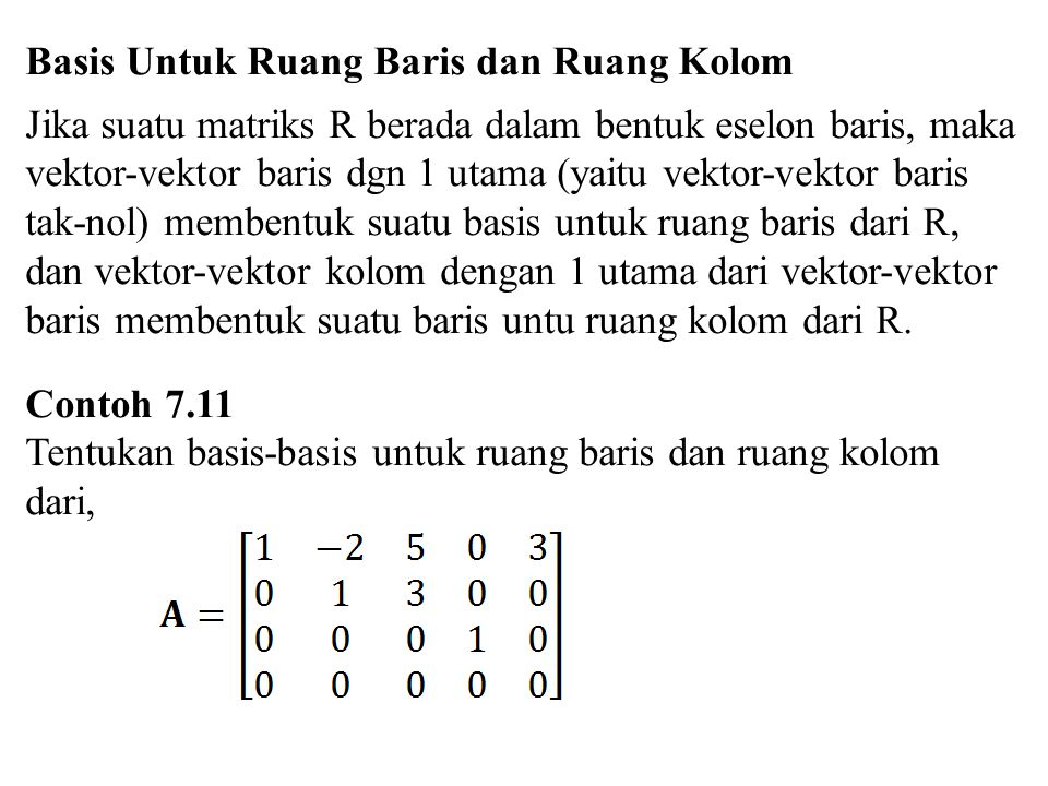 Basis Untuk Ruang Baris dan Ruang Kolom