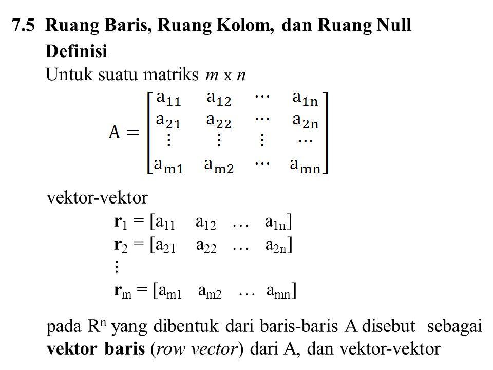 7.5 Ruang Baris, Ruang Kolom, dan Ruang Null
