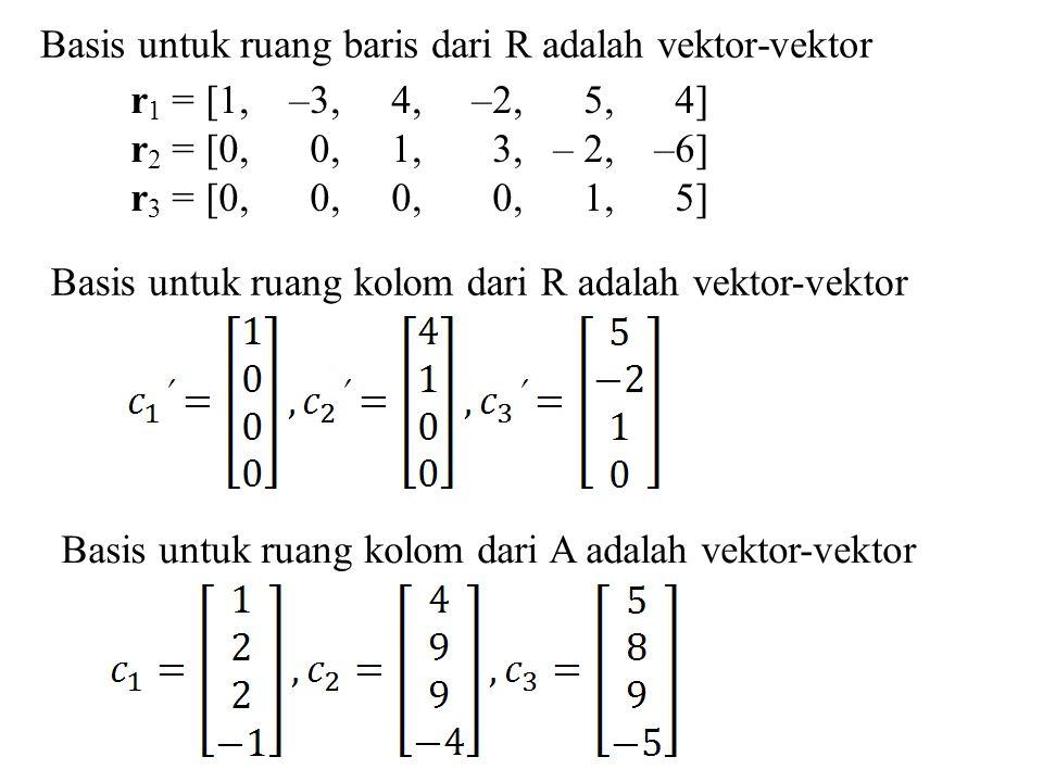 Basis untuk ruang baris dari R adalah vektor-vektor