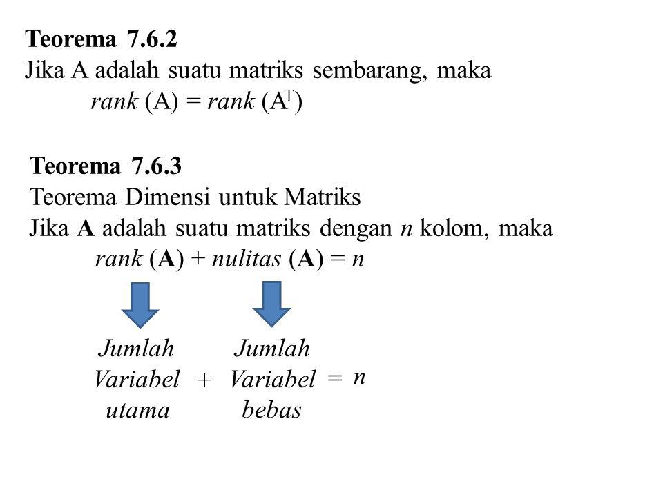 Teorema 7.6.2 Jika A adalah suatu matriks sembarang, maka. rank (A) = rank (AT) Teorema 7.6.3. Teorema Dimensi untuk Matriks.