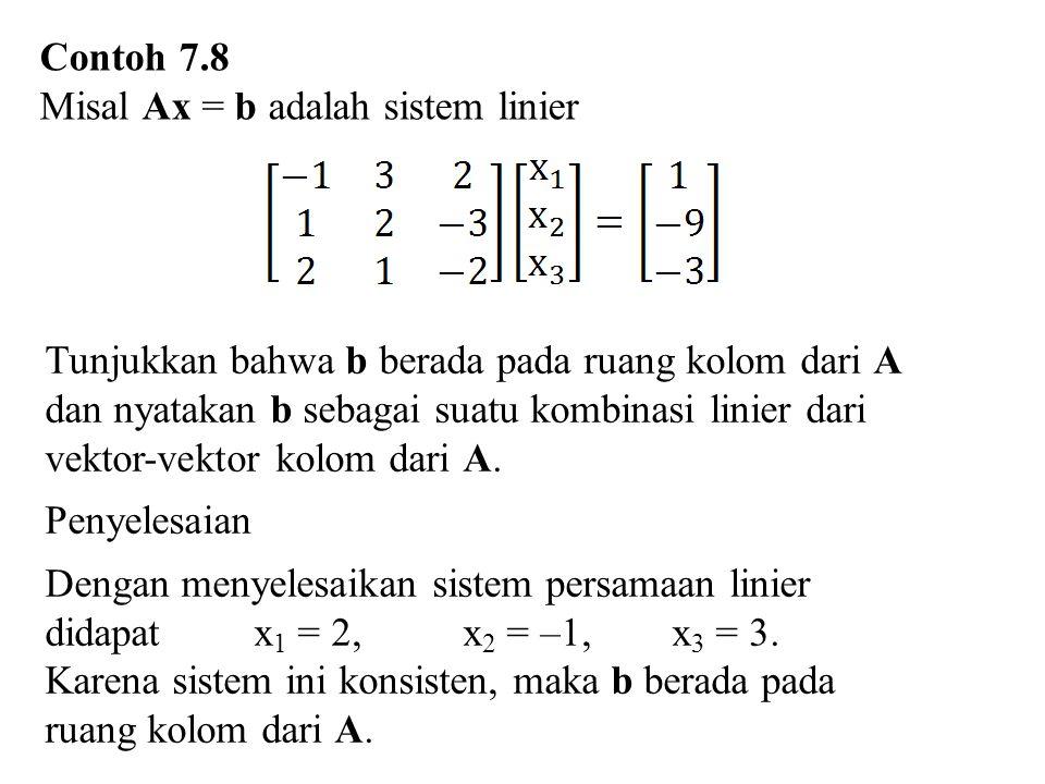 Contoh 7.8 Misal Ax = b adalah sistem linier.