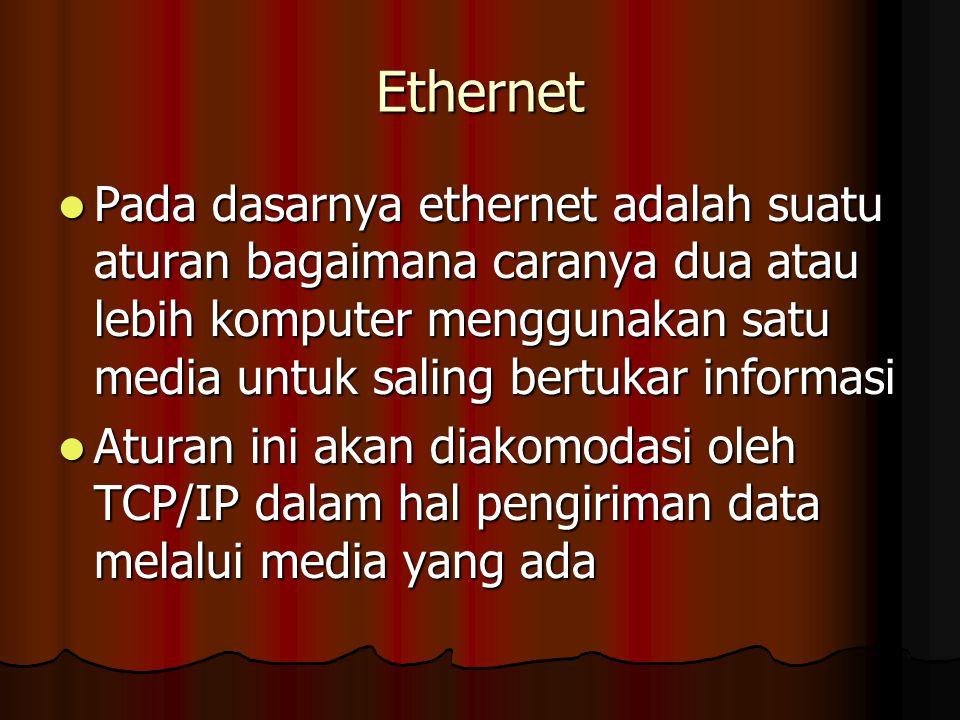 Ethernet Pada dasarnya ethernet adalah suatu aturan bagaimana caranya dua atau lebih komputer menggunakan satu media untuk saling bertukar informasi.
