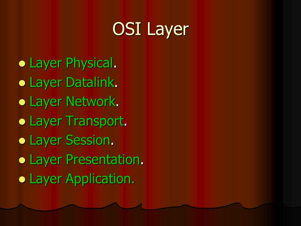 OSI Layer Layer Physical. Layer Datalink. Layer Network.