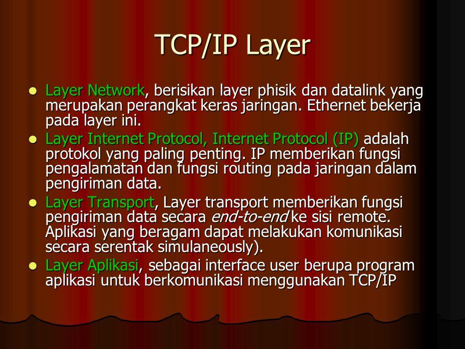 TCP/IP Layer Layer Network, berisikan layer phisik dan datalink yang merupakan perangkat keras jaringan. Ethernet bekerja pada layer ini.