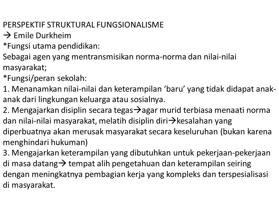 PERSPEKTIF STRUKTURAL FUNGSIONALISME  Emile Durkheim