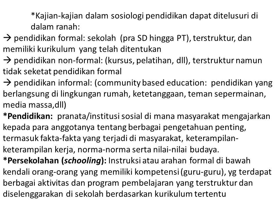 Kajian-kajian dalam sosiologi pendidikan dapat ditelusuri di