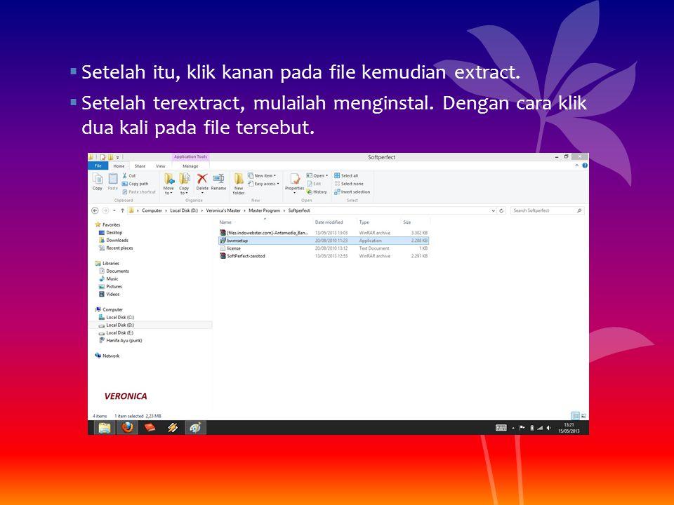 Setelah itu, klik kanan pada file kemudian extract.