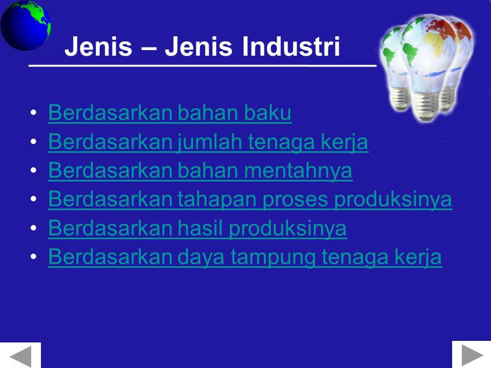 Jenis – Jenis Industri Berdasarkan bahan baku