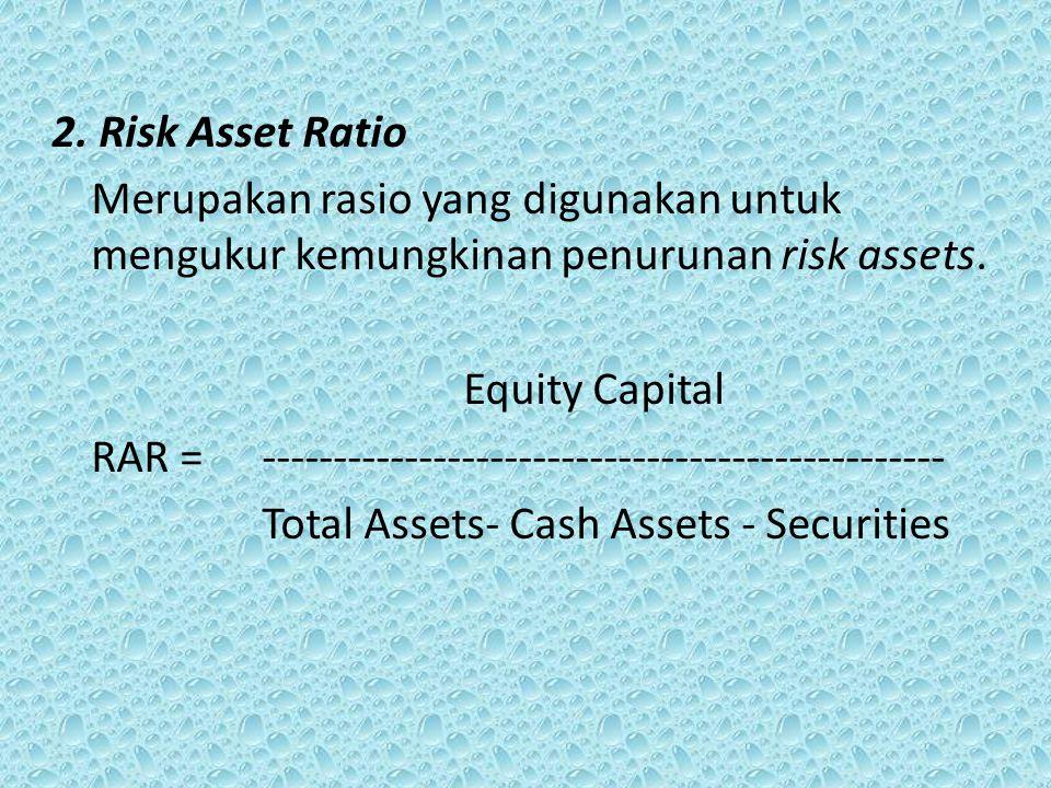 2. Risk Asset Ratio Merupakan rasio yang digunakan untuk mengukur kemungkinan penurunan risk assets.