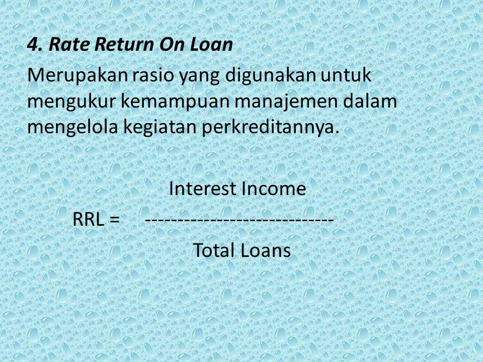 4. Rate Return On Loan Merupakan rasio yang digunakan untuk mengukur kemampuan manajemen dalam mengelola kegiatan perkreditannya.