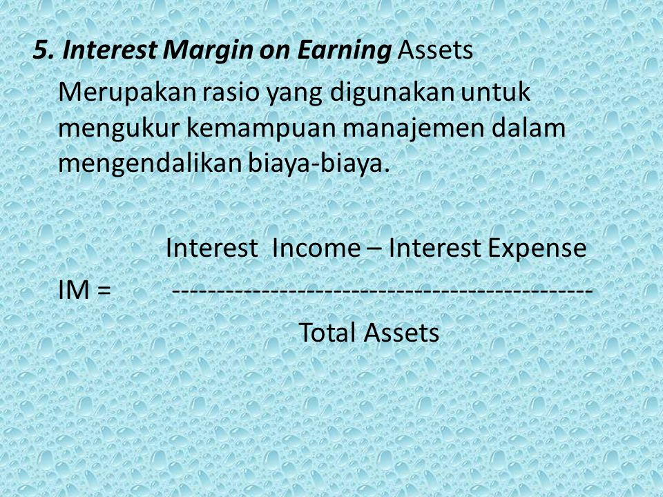 5. Interest Margin on Earning Assets
