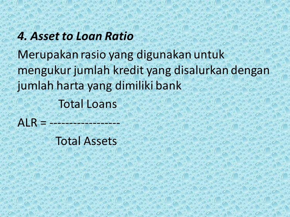 4. Asset to Loan Ratio Merupakan rasio yang digunakan untuk mengukur jumlah kredit yang disalurkan dengan jumlah harta yang dimiliki bank.