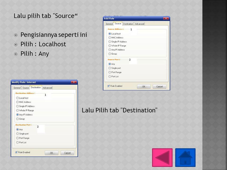 Lalu pilih tab Source Pengisiannya seperti ini. Pilih : Localhost.