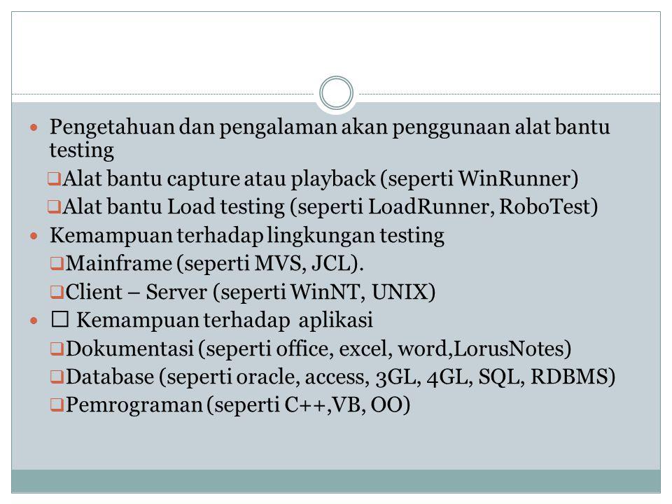 Pengetahuan dan pengalaman akan penggunaan alat bantu testing